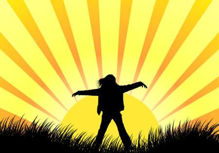meisje silhouet: Kort zonsopgang met meisje silhouet vector illustration