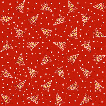 christmas cover: Christmas cover with Christmas tree and stars Stock Photo