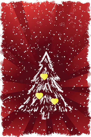 Abstract grunge background with Christmas tree and hearts