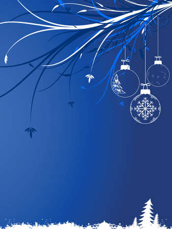 Abstract background with Christmas toys scrolls and snow