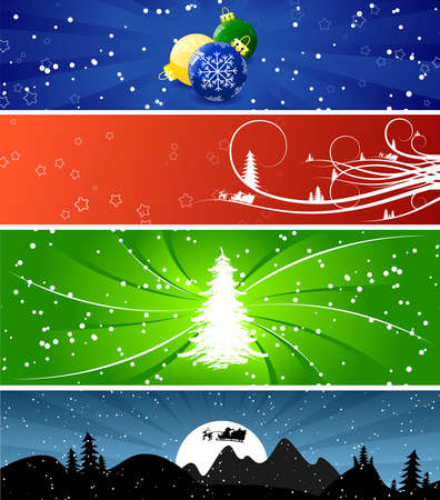Four color Winter Christmsa banners with trees, snow and flakes photo