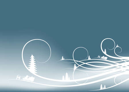 grandfather frost: abstract winter background with firtree silhouettes and Santa Claus Stock Photo