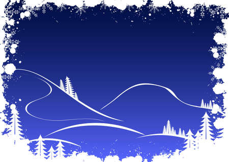 Grunge winter background with fir-tree snowflakes and santa photo