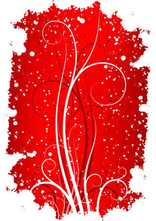 Abstract winter grunge background with flakes and scrolls in red color Stock Photo - 2160261