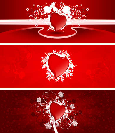 Color Saint Valentine's banners with snow scrolls and heart shapes Stock Photo - 2190662