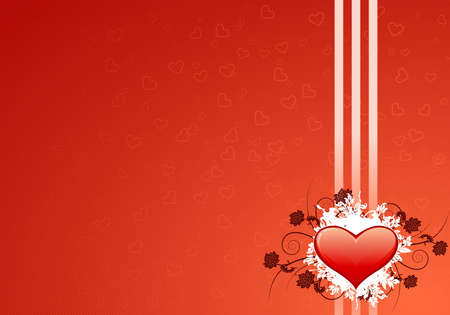 Valentines day greeting card with abstract Hearts and floral elements photo