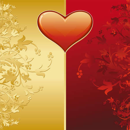 Valentine card with gold decoration and heart shape photo