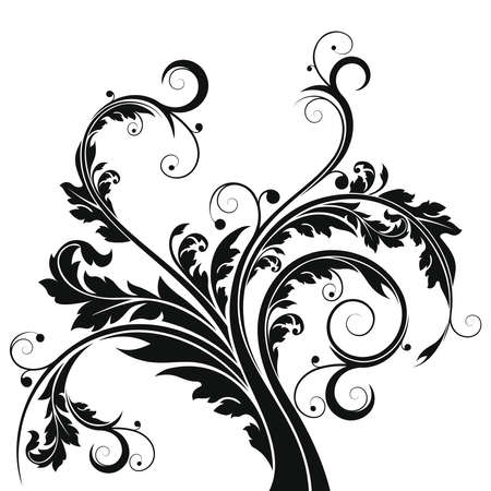 stencil: Stylized floral elements with leafs and scrolls