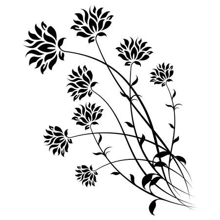 stencil art: Stylized floral elements with leafs isolated on white