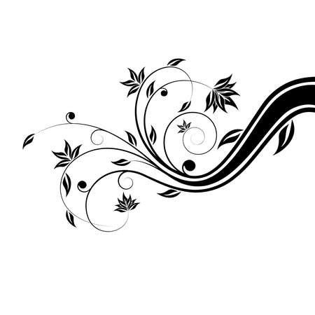 Adstract painted floral scroll isolated on white photo