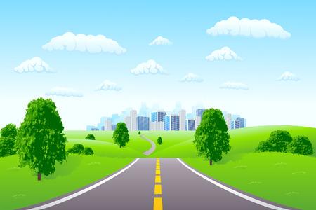Paysage avec la ville