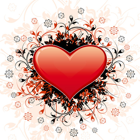 Valentine's Day Heart with floral decoration and flowers Stock Vector - 3958934