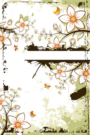 Grunge vector flower background with butterfly and copyspace Иллюстрация