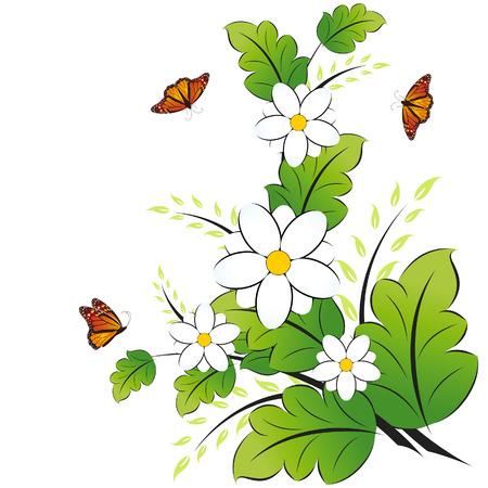 La primavera con flores en blanco mariposa aislada