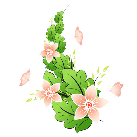 Pink spring flowers with butterfly isolated on white