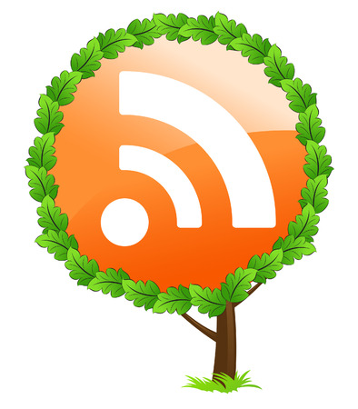 RSS tree icon isolated on white background
