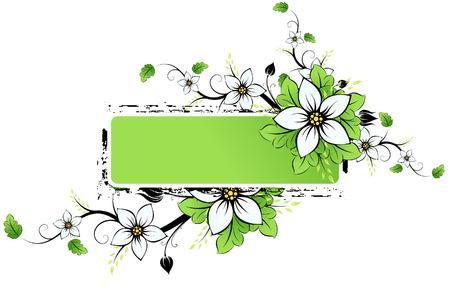 Grunge Vector ramka AD z wiosennych kwiatów i liści Ilustracje wektorowe