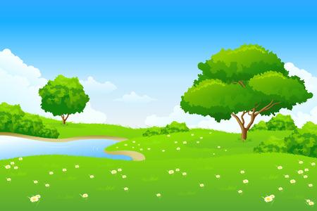 Verde paisaje con árboles de lago y las nubes