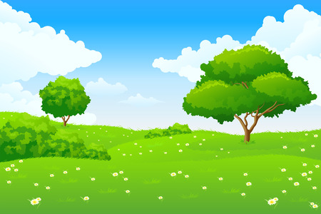 Groen landschap met meer bomen en wolken