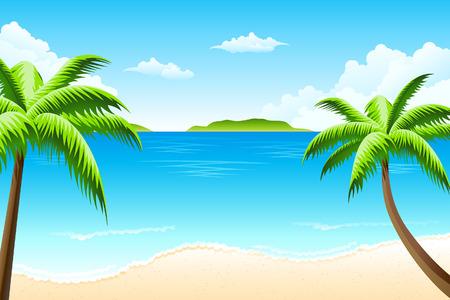 Paisaje tropical con nubes de árbol de Palma y la isla