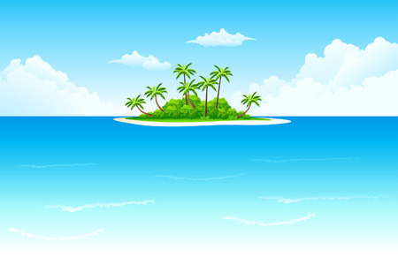 Tropische landschap met palm boom wolken en eiland Vector Illustratie