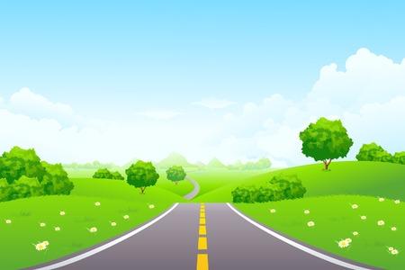 Paysage - colline verte avec arbre de montagne et cloudscape Vecteurs
