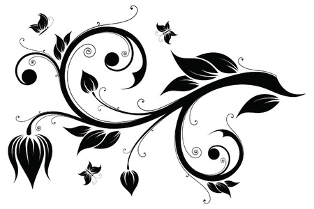 Abstract design element with flowers and butterflies Vektoros illusztráció