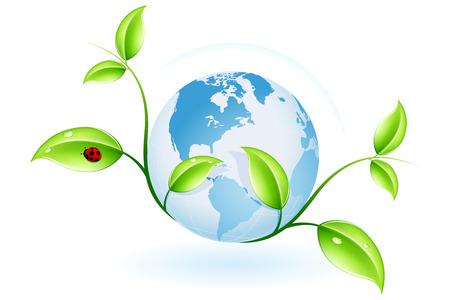 植物とあなたのデザインの世界で緑色のエコロジーのコンセプト