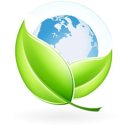 あなたのデザインの葉と地球を持つ緑色のエコロジー アイコン
