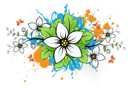 Grunge Flower background with leaves and butterfly for your design