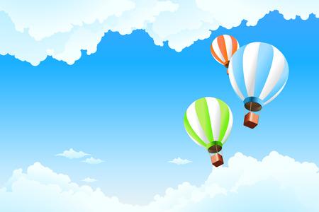 Globo en el cielo con nubes para su diseño