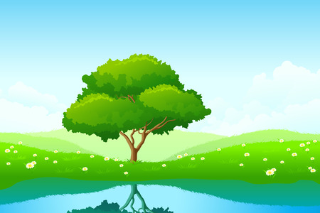 Green landscape with lonely tree and flowers