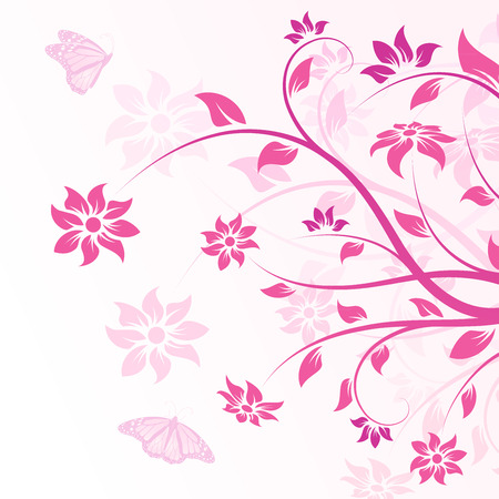 Abstract Background with flowers and butterfly for your design