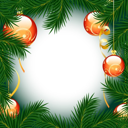 Illustration of christmas fir tree with baubles on white background