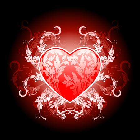 Cuore di s. Valentino Rossi illustrazione vettoriale con motivo floreale Vettoriali