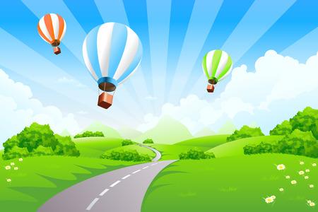 Paysage vert avec des montagnes et des nuages de ballons