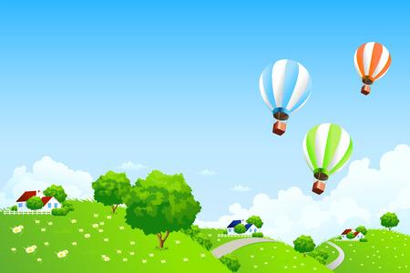 Paisaje verde con casas y nubes de globos