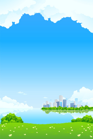 Green City Landscape with lake and flowers Stock Vector - 8892452