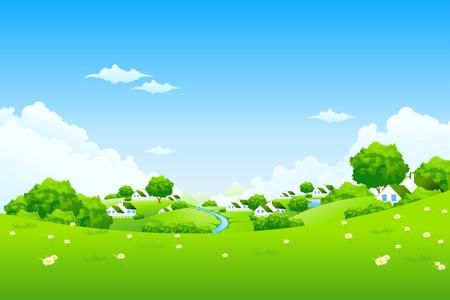 Verde paesaggio con alberi e fiori di nuvole di case
