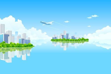 Business City Island avec des nuages ??d'eau et d'avion