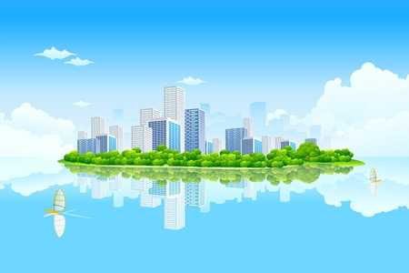 Business City Landscape with clouds and water Vektorové ilustrace