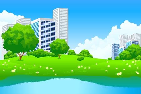 Paisaje de ciudad de verde con flores y Lago de árbol