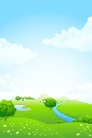 Green landscape with tree lake river house mountains and clouds Иллюстрация