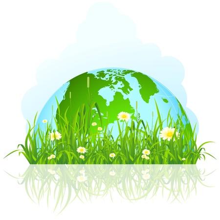 Abstracto planeta verde aislado en la hierba