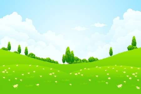 Green Landscape with trees clouds flowers and hills