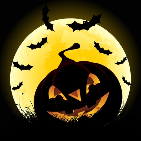 Halloween background with pumpkin in grass bats and moon