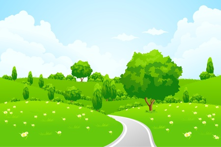 Green Landscape with hill tree road and flowers for your design Иллюстрация