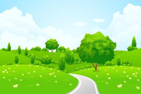 Paisaje verde con la carretera tree hill y flores para su diseño