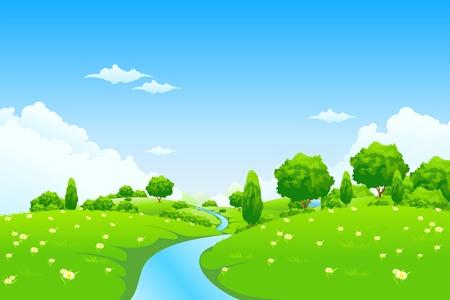 Paisaje verde con los árboles del río y las flores para su diseño