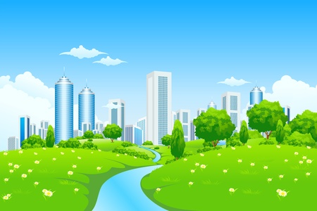 Green landscape with trees river and city for your design